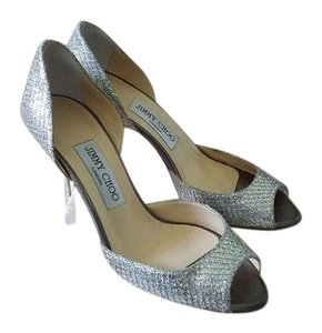 "Jimmy Choo Glitter Peep Toe Formal Silver (""Champagne"") Pumps"