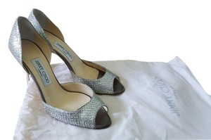Jimmy Choo Glitter Sparkle Peep Toe Silver Pumps