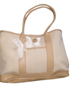3a3adc42b0e28 Tory Burch Large Canvas Leather Handles Brooke Tan Tote in Dark buff - Cream  - Khaki