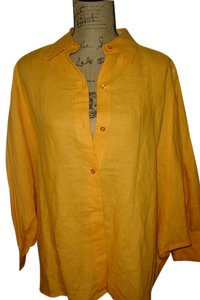 Neiman Marcus Linen Casual Button Down Shirt SUNSHINE YELLOW