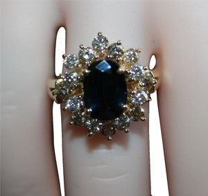 Blue sapphire and diamond in 14k gold