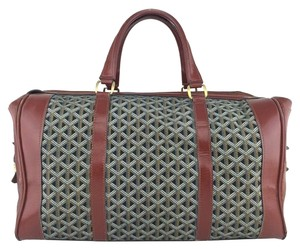 Goyard Canvas Leather Gold Hardware Logo Brown Travel Bag