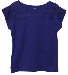 Ann Taylor LOFT Work Office Casual Lace Lace Trim Grape Scoop Neck Banded T Shirt Purple