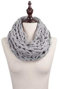 Chunky Rope Yarn Knit Tube Scarf Grey