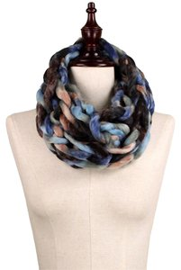 Other Chunky Chain Knit Infinity Scarf Blue, Brown