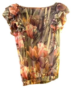 Ted Baker Floral New With Tags Side Ruffle Polyester Top Multi- color