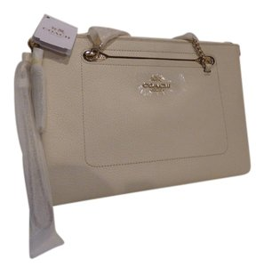 Coach Leather New Wristlet in Chalk