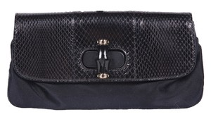 Gucci Satin Bamboo Black Clutch