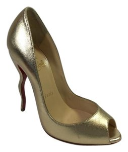 Christian Louboutin Leather Gold Pumps