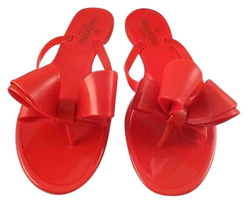 c5f34dc1dae4 Valentino Rockstud Rubber Jelly Bow Pvc Thong Flip Flop Red Sandals Image 0  ...