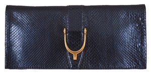 Gucci NEW Gucci 304719 Metallic Blue Python Snakeskin Horsebit Purse Clutch