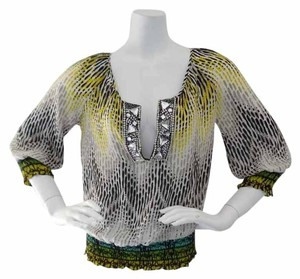 Calypso New With Tags Beaded Top Yellow & Black