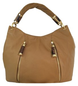 Michael Kors Tonne Leather Python Accent Hobo Shoulder Bag