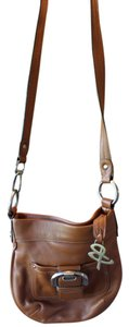 B. Makowsky Tan Pebbled Leather Silver Hardware Cross Body Bag