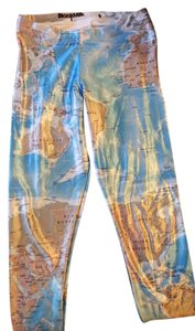 Black Milk Clothing World Map Map Blue, Tan, White Leggings