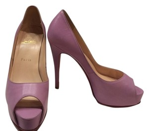 Christian Louboutin Leather Peep Toe Red Sole Stiletto Platform Hidden Platform 37 Lilac Pumps