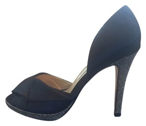 Caparros Satin Glitter Peep Toe Black Formal