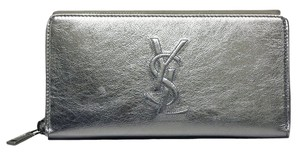 Saint Laurent Yves Saint Laurent Belle du Jour Metallic Silver Leather Zip Wallet