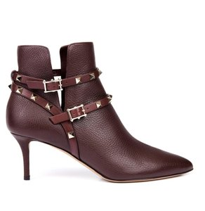 Valentino Leather Studded Wine Burgundy 39(EU) NWT Boots