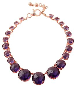 Henri Bendel NEW Henri Bendel Hand Me Down Statement Necklace 18k Rose Gold GP Round Purple Crystals