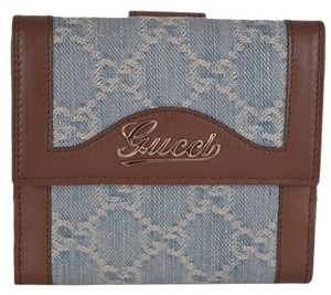 Gucci New Gucci Women's 282412 Denim GG Guccissima Valentine Small French Wallet