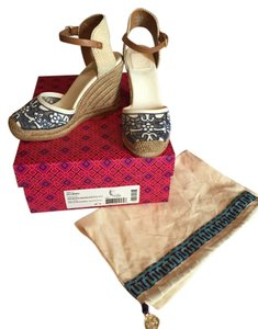 Tory Burch Blue/Natural/Ivory/Royal TN Wedges