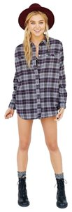 Urban Outfitters Button Down Shirt Black grey white flannel