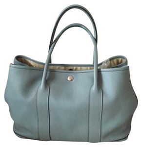 Hermès Hermes Leather Constance Tote in Blue