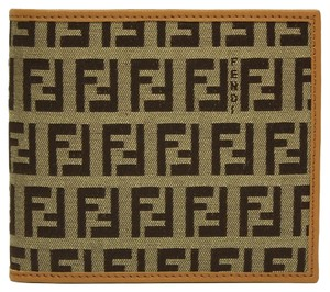 Fendi Fendi Zucca FF Logo Canvas and Calf Skin Leather Men's Bifold Wallet 7M0001