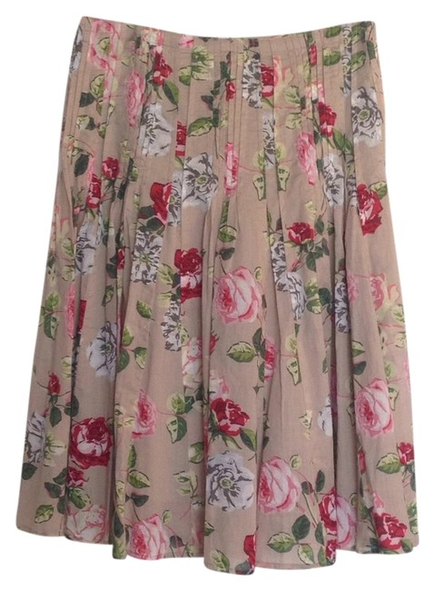 Item - Tan with Blue Pink and Green Print Skirt Size 2 (XS, 26)