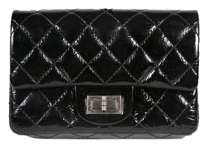 Chanel Reissue Patent Silver Hardware Black Clutch