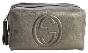 Gucci Gucci Grey Gunmetal Leather 'Soho' Large Cosmetic Pouch Makeup Bag Clutch