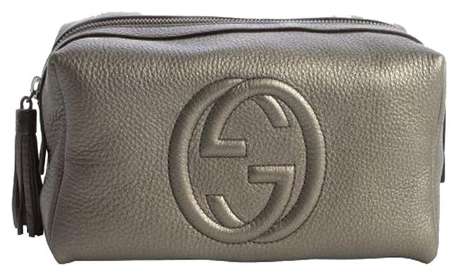 Item - Grey Pouch Clutch Soho Gunmetal Leather 'soho' Large Makeup Cosmetic Bag