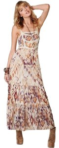 Beige Multi Maxi Dress by Free People Sheer Tiered Maxi