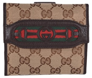 Gucci New Gucci Women's 295352 GG Guccissima Horsebit GG Red Green Web French Wallet