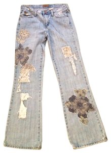 Department of Peace Floral Boot Cut Jeans-Distressed