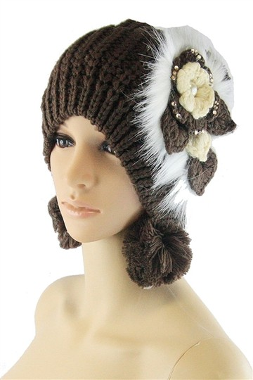 Other Gray Fur Flower Accent Winter Hat Beanie Image 1