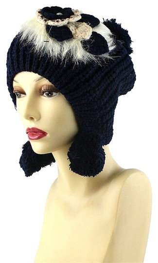 Other Gray Fur Flower Accent Winter Hat Beanie Image 2