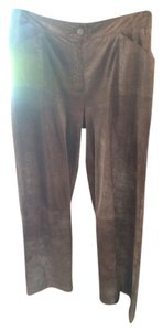 Chanel Fall Vintage Shimmer Suede Straight Pants Brown