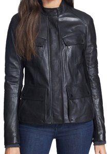 Vince Leather Cargo Zip Leather Jacket