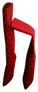 Gucci Velvet Stiletto Runway RED Boots