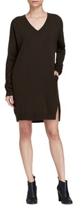 Vince short dress Dark Charcoal/Black Black Sweater V-neck on Tradesy