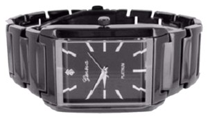 Geneva Rectangle Face Unisex Watch Black Gold Tone Geneva Platinum Black Dial Steel