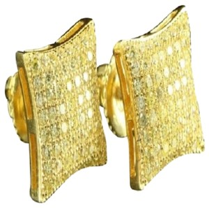 Puffed Sterling Silver 925 Pillow Style Mens 10mm Kite Earrings Gold Finish Cz