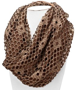 Lace & Jersey Double Sided Infinity Scarf Taupe