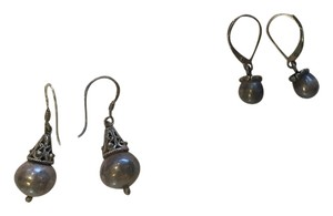 Three pairs of dangling earrings - two sterling silver, one silver and turquoise