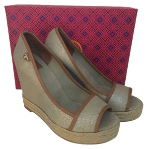 Tory Burch Natural/Royal Tan Wedges