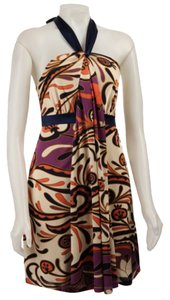 Betsey Johnson short dress Beige, purple, orange, navy paisley Wrap Flattering on Tradesy