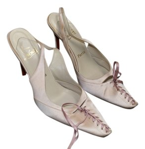 Christian Louboutin Silk Heel Lace Up Heel Ballerina Pink Pumps