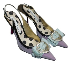 Christian Lacroix Evening Wear Satin Rhinstones Buckle Purple satin Pumps